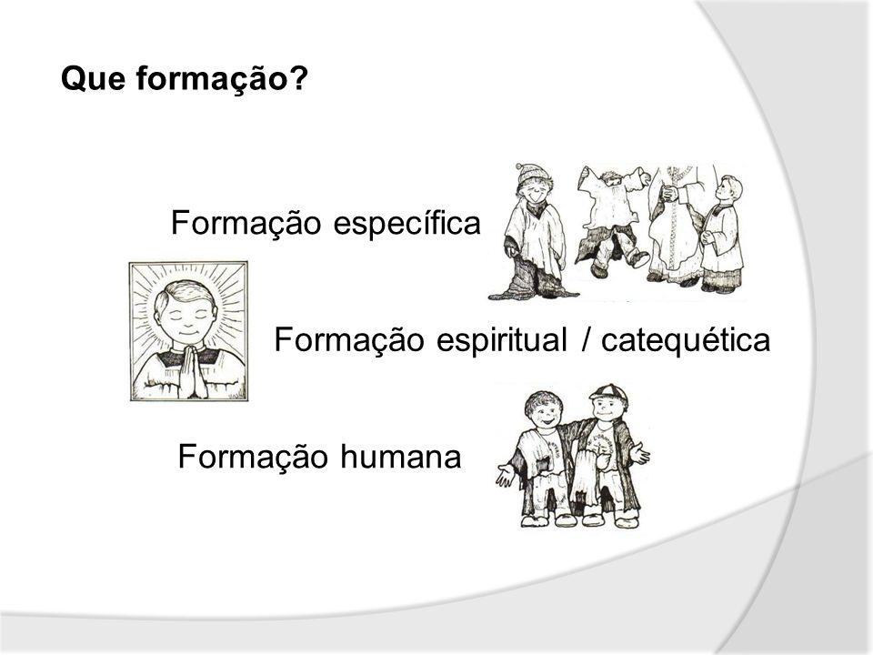Que formação? Formação específica Formação espiritual / catequética Formação humana