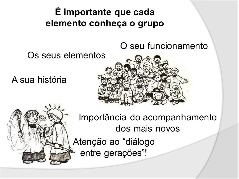 É importante que cada elemento conheça o grupo Os seus elementos O seu funcionamento A sua história Importância do acompanhamento dos mais novos Atenç