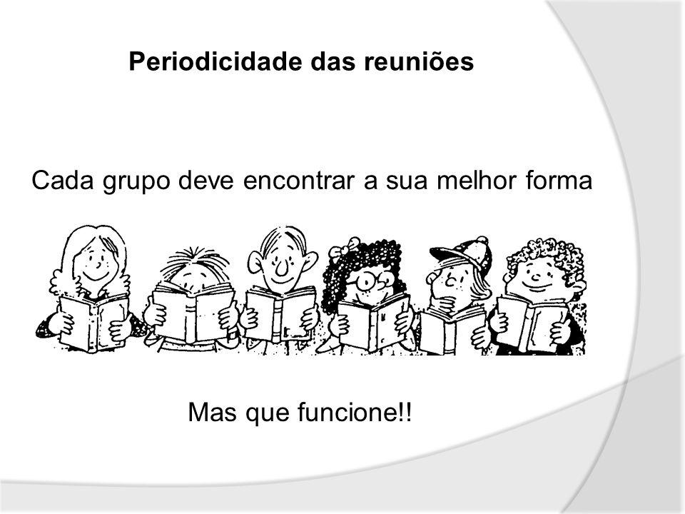 Periodicidade das reuniões Cada grupo deve encontrar a sua melhor forma Mas que funcione!!