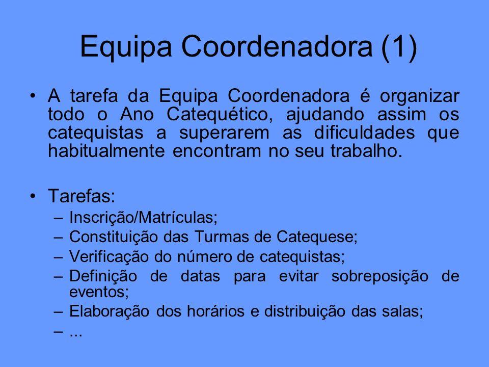 Equipa Coordenadora (1) A tarefa da Equipa Coordenadora é organizar todo o Ano Catequético, ajudando assim os catequistas a superarem as dificuldades