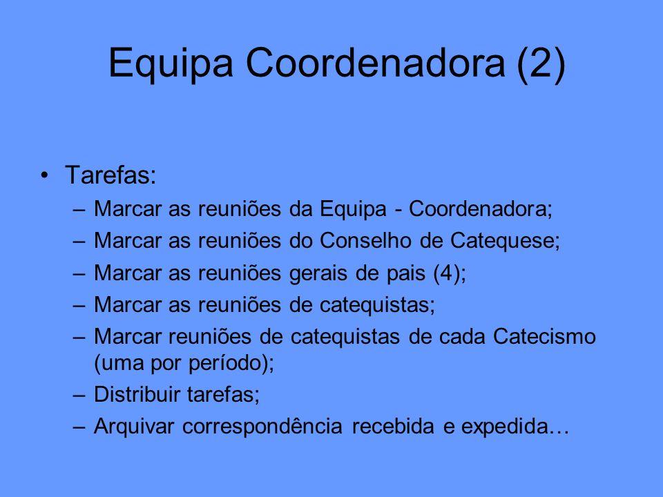 Equipa Coordenadora (2) Tarefas: –Marcar as reuniões da Equipa - Coordenadora; –Marcar as reuniões do Conselho de Catequese; –Marcar as reuniões gerai