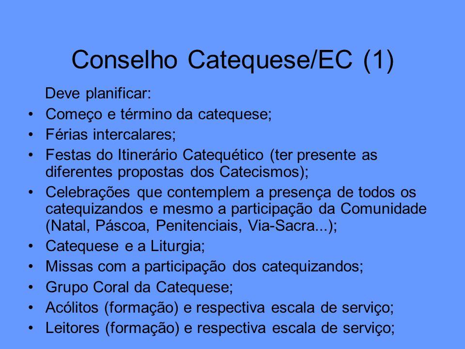 Conselho Catequese/EC (1) Deve planificar: Começo e término da catequese; Férias intercalares; Festas do Itinerário Catequético (ter presente as difer