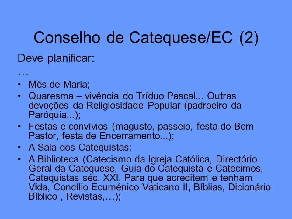 Conselho de Catequese/EC (2) Deve planificar: … Mês de Maria; Quaresma – vivência do Tríduo Pascal... Outras devoções da Religiosidade Popular (padroe