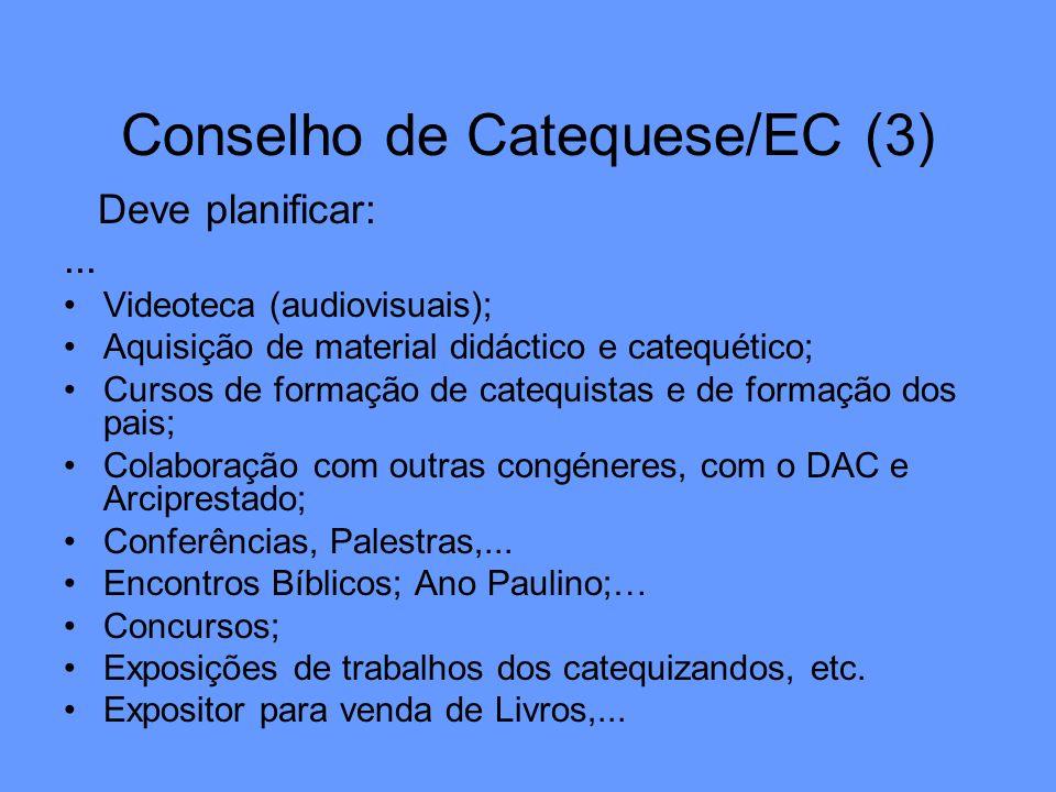 Conselho de Catequese/EC (3) Deve planificar:... Videoteca (audiovisuais); Aquisição de material didáctico e catequético; Cursos de formação de catequ