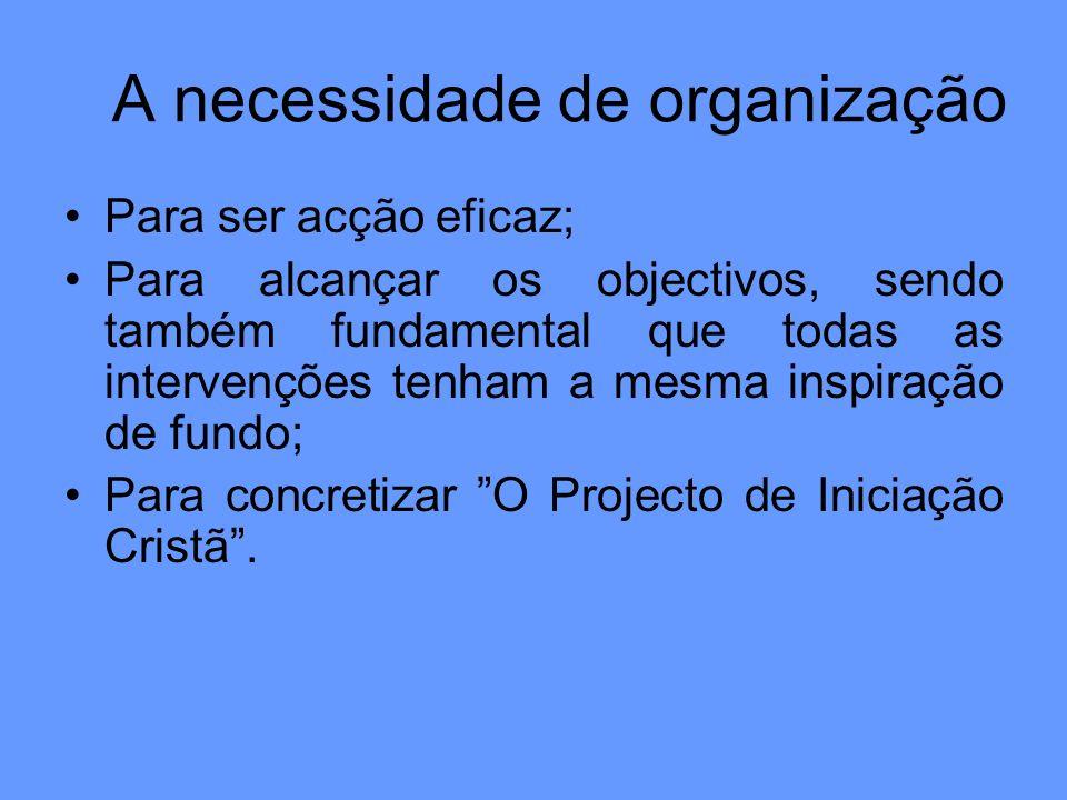 A necessidade de organização Para ser acção eficaz; Para alcançar os objectivos, sendo também fundamental que todas as intervenções tenham a mesma ins