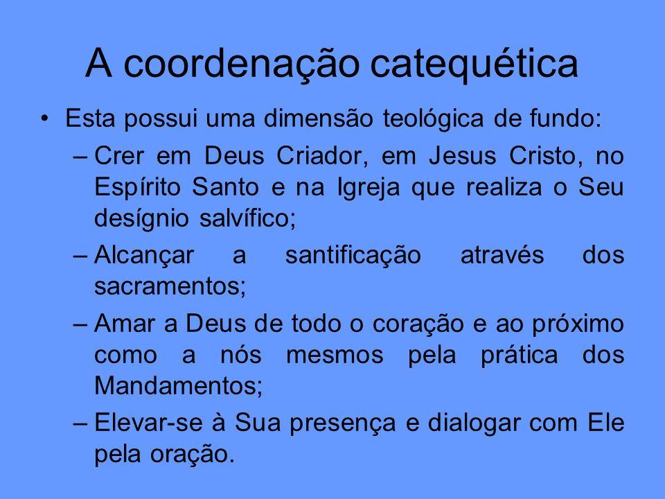 A coordenação catequética Esta possui uma dimensão teológica de fundo: –Crer em Deus Criador, em Jesus Cristo, no Espírito Santo e na Igreja que reali