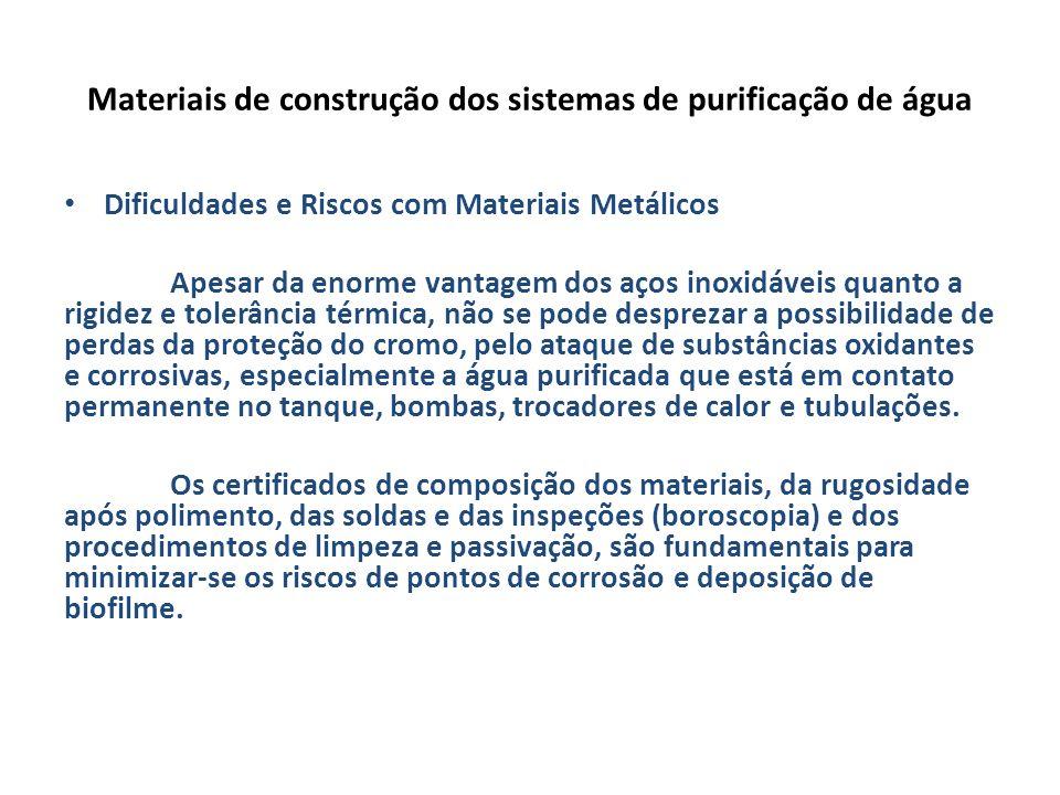 Materiais de construção dos sistemas de purificação de água Dificuldades e Riscos com Materiais Metálicos Apesar da enorme vantagem dos aços inoxidáve