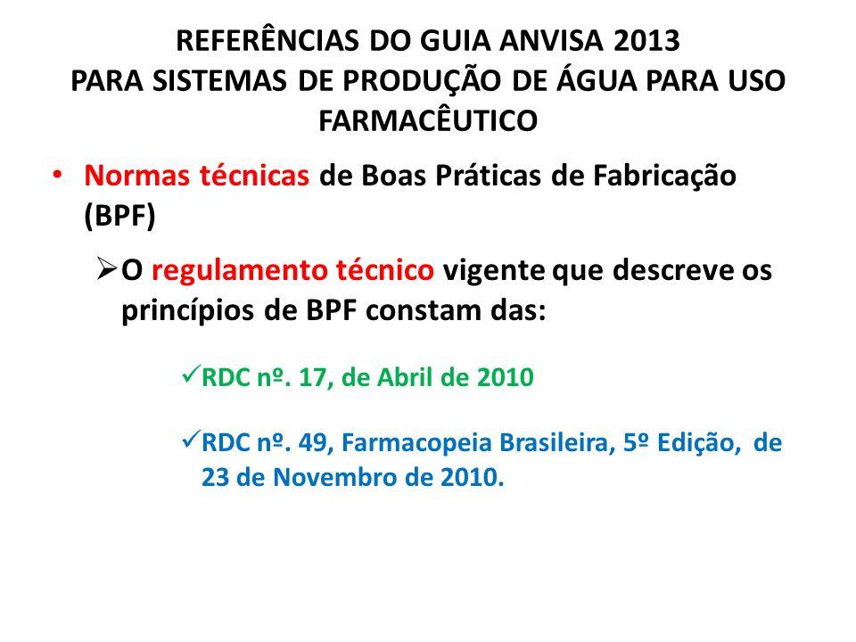 REFERÊNCIAS DO GUIA ANVISA 2013 PARA SISTEMAS DE PRODUÇÃO DE ÁGUA PARA USO FARMACÊUTICO Normas técnicas de Boas Práticas de Fabricação (BPF) O regulam