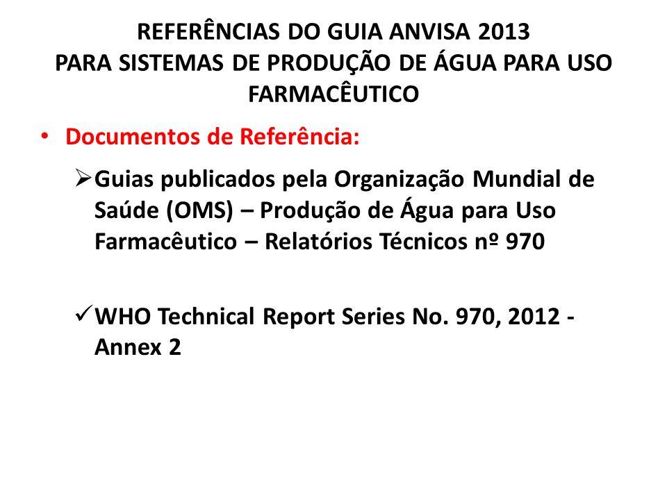 REFERÊNCIAS DO GUIA ANVISA 2013 PARA SISTEMAS DE PRODUÇÃO DE ÁGUA PARA USO FARMACÊUTICO Documentos de Referência: Guias publicados pela Organização Mu