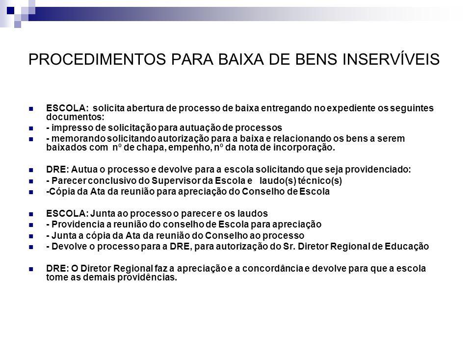 PROCEDIMENTOS PARA BAIXA DE BENS INSERVÍVEIS ESCOLA: solicita abertura de processo de baixa entregando no expediente os seguintes documentos: - impres