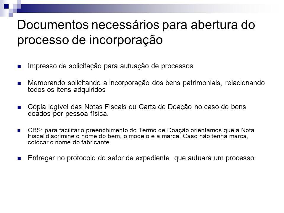 Documentos necessários para abertura do processo de incorporação Impresso de solicitação para autuação de processos Memorando solicitando a incorporaç