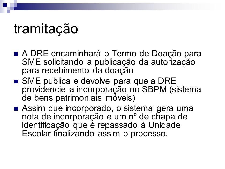 tramitação A DRE encaminhará o Termo de Doação para SME solicitando a publicação da autorização para recebimento da doação SME publica e devolve para