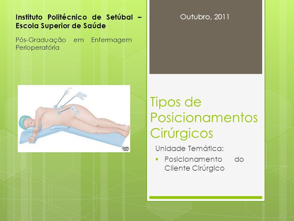 Tipos de Posicionamentos Cirúrgicos Unidade Temática: Posicionamento do Cliente Cirúrgico Instituto Politécnico de Setúbal – Escola Superior de Saúde