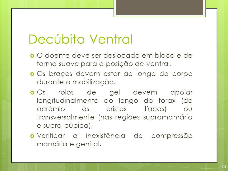 Decúbito Ventral O doente deve ser deslocado em bloco e de forma suave para a posição de ventral. Os braços devem estar ao longo do corpo durante a mo