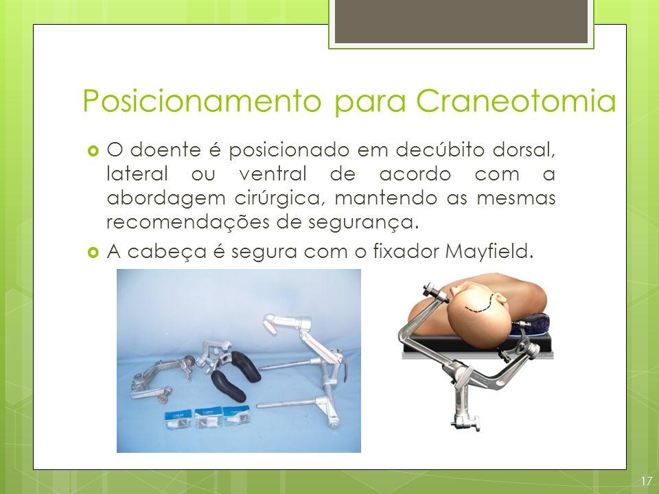 Posicionamento para Craneotomia O doente é posicionado em decúbito dorsal, lateral ou ventral de acordo com a abordagem cirúrgica, mantendo as mesmas