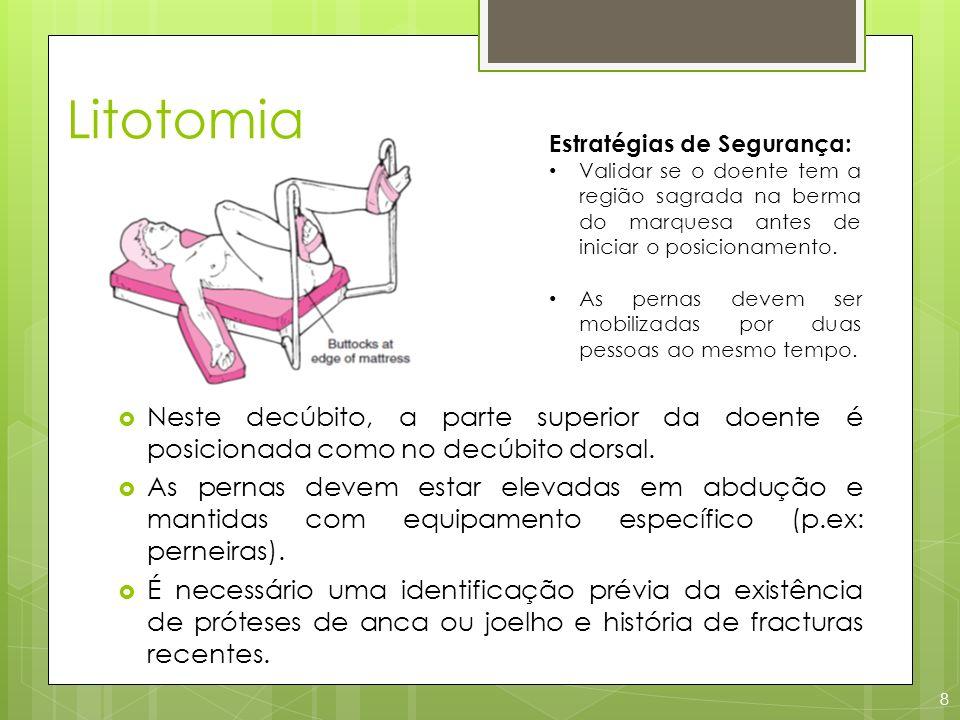 Litotomia 8 Neste decúbito, a parte superior da doente é posicionada como no decúbito dorsal. As pernas devem estar elevadas em abdução e mantidas com