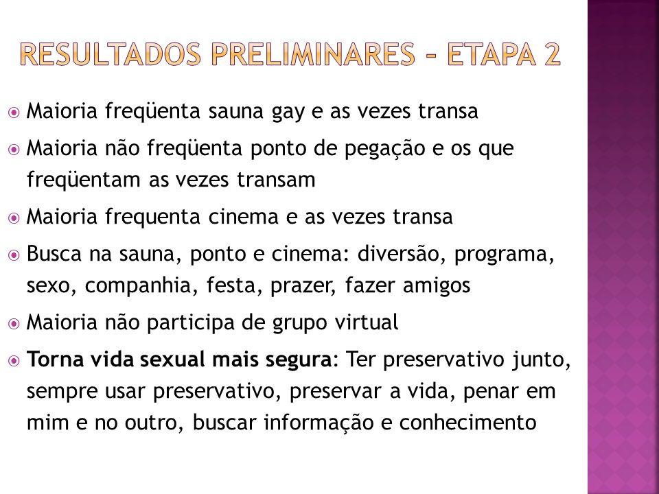 Maioria freqüenta sauna gay e as vezes transa Maioria não freqüenta ponto de pegação e os que freqüentam as vezes transam Maioria frequenta cinema e a