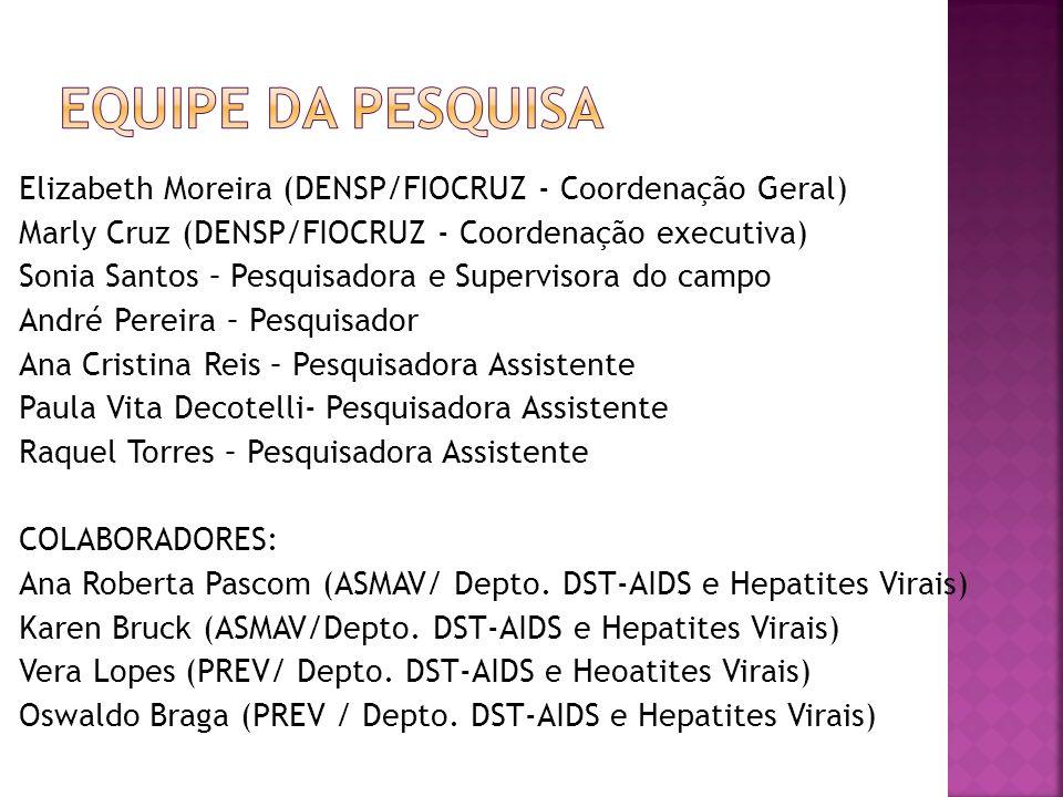 Elizabeth Moreira (DENSP/FIOCRUZ - Coordenação Geral) Marly Cruz (DENSP/FIOCRUZ - Coordenação executiva) Sonia Santos – Pesquisadora e Supervisora do
