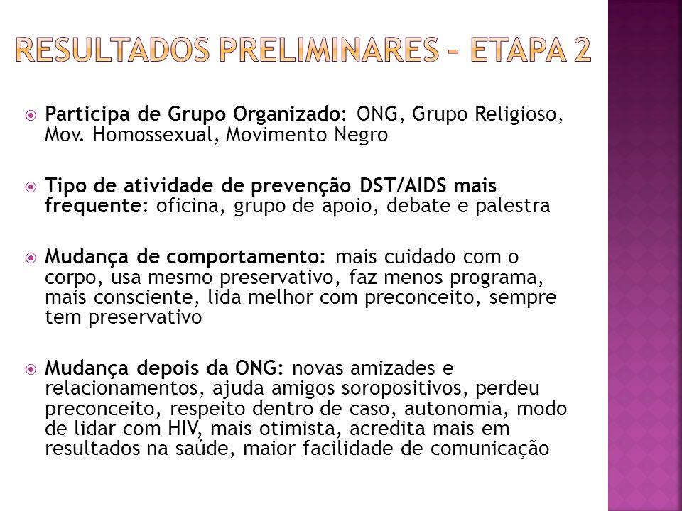 Participa de Grupo Organizado: ONG, Grupo Religioso, Mov. Homossexual, Movimento Negro Tipo de atividade de prevenção DST/AIDS mais frequente: oficina