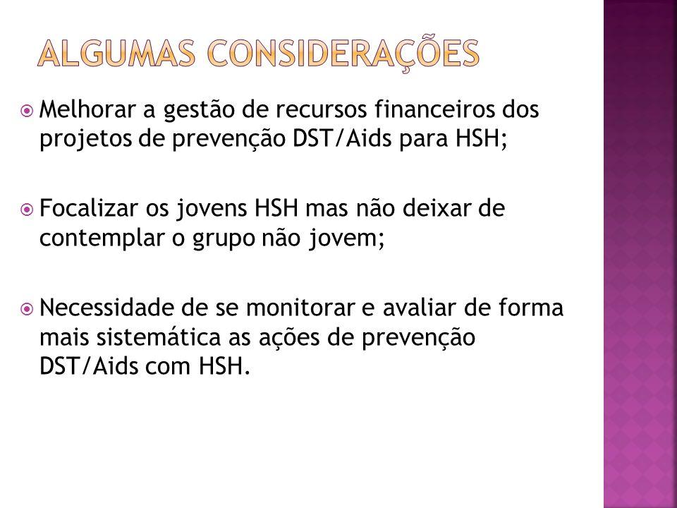 Melhorar a gestão de recursos financeiros dos projetos de prevenção DST/Aids para HSH; Focalizar os jovens HSH mas não deixar de contemplar o grupo nã
