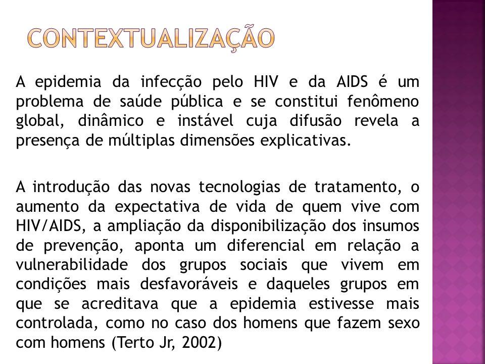 A epidemia da infecção pelo HIV e da AIDS é um problema de saúde pública e se constitui fenômeno global, dinâmico e instável cuja difusão revela a pre