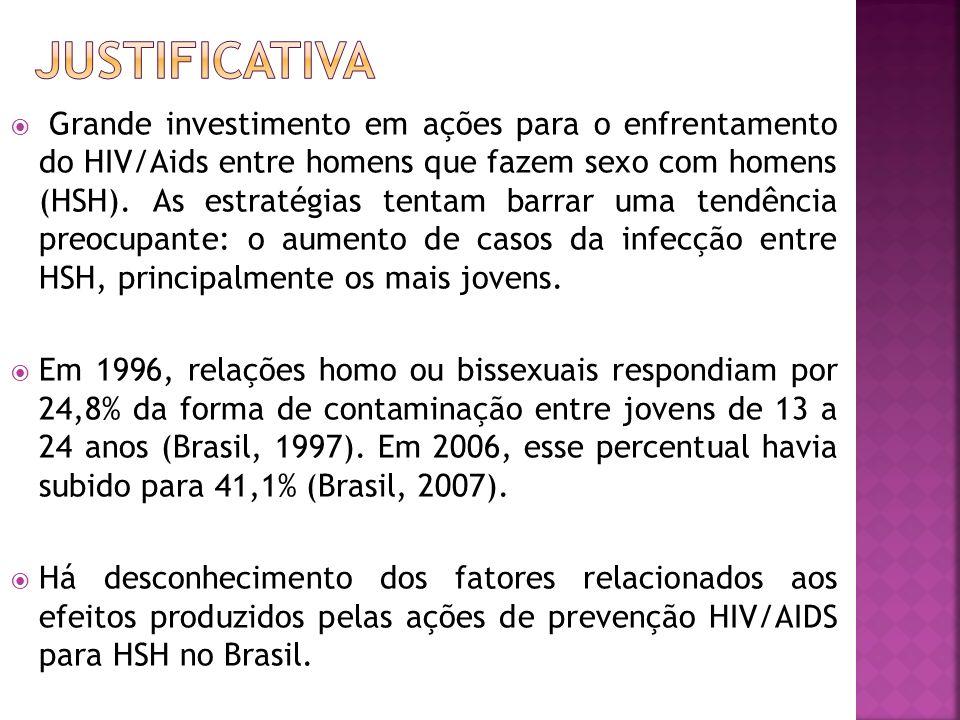 OBJETIVO GERAL: Avaliar a efetividade de programas de prevenção de HIV/AIDS para homens que fazem sexo com homens de organizações não governamentais brasileiras.