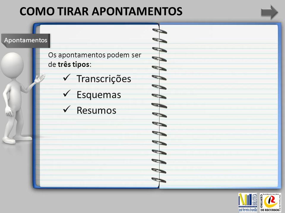 Os apontamentos podem ser de três tipos: Transcrições Esquemas Resumos Apontamentos COMO TIRAR APONTAMENTOS