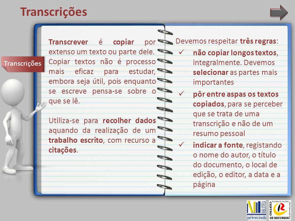 Transcrições Devemos respeitar três regras: não copiar longos textos, integralmente. Devemos selecionar as partes mais importantes pôr entre aspas os