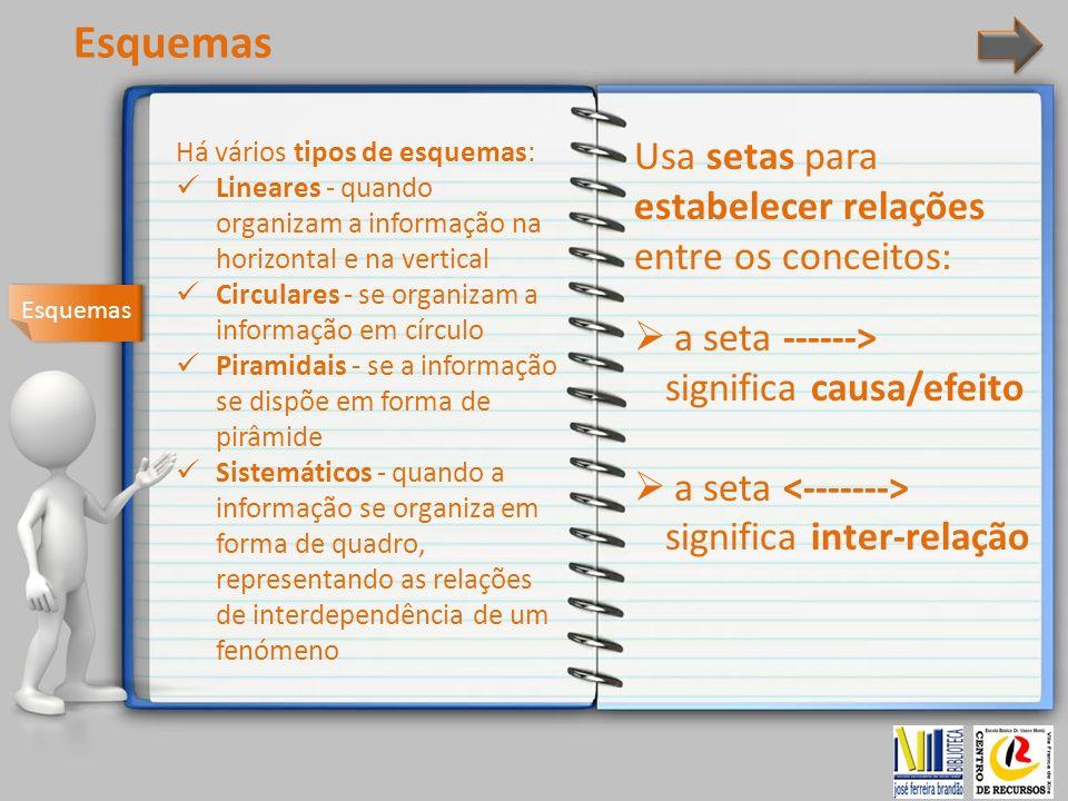 Esquemas Há vários tipos de esquemas: Lineares - quando organizam a informação na horizontal e na vertical Circulares - se organizam a informação em c