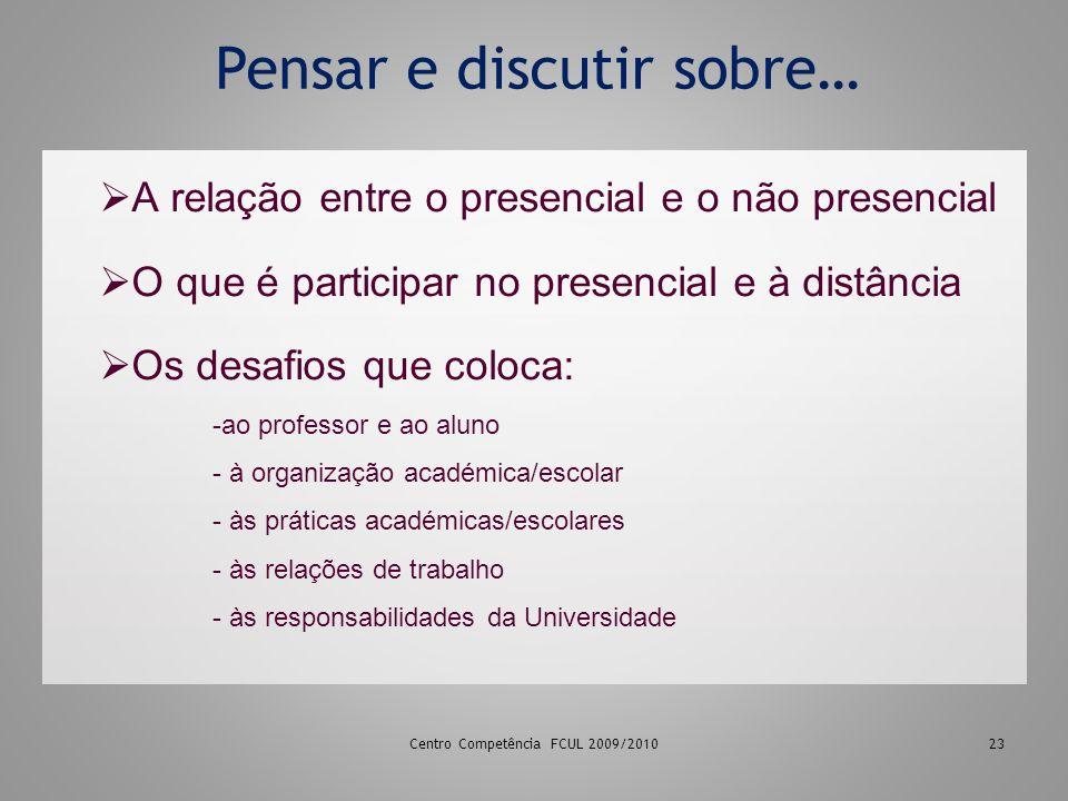 23 Pensar e discutir sobre… A relação entre o presencial e o não presencial O que é participar no presencial e à distância Os desafios que coloca: -ao