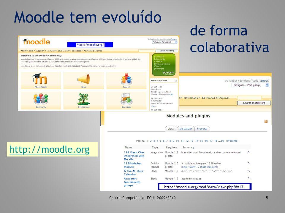 Moodle tem evoluído 5 de forma colaborativa http://moodle.org Centro Competência FCUL 2009/2010