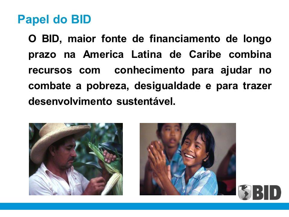 Papel do BID O BID, maior fonte de financiamento de longo prazo na America Latina de Caribe combina recursos com conhecimento para ajudar no combate a