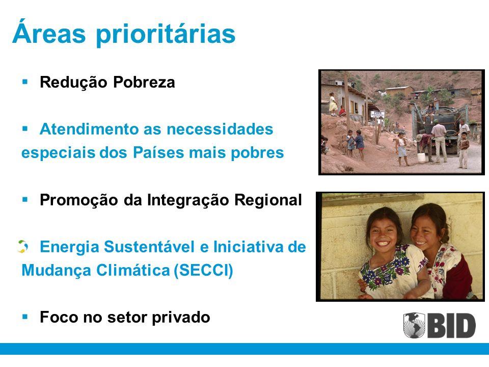 Áreas prioritárias Redução Pobreza Atendimento as necessidades especiais dos Países mais pobres Promoção da Integração Regional Energia Sustentável e