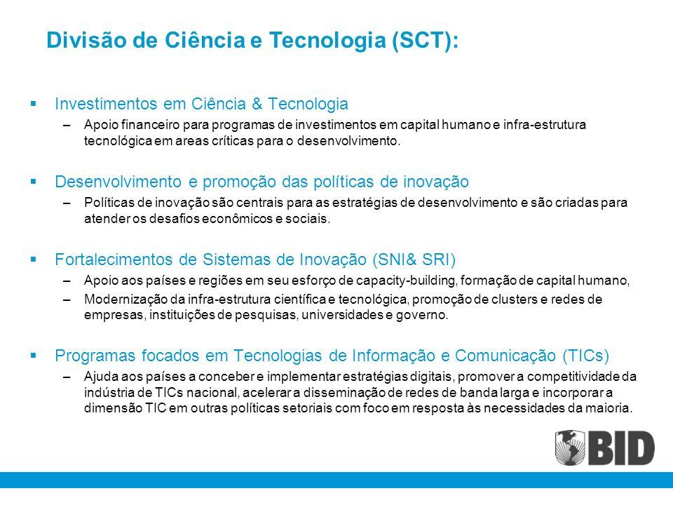 Investimentos em Ciência & Tecnologia –Apoio financeiro para programas de investimentos em capital humano e infra-estrutura tecnológica em areas críti