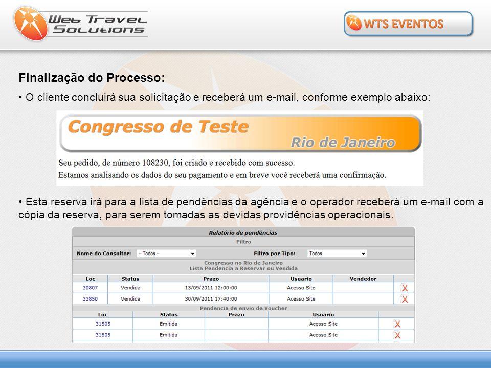 Finalização do Processo: O cliente concluirá sua solicitação e receberá um e-mail, conforme exemplo abaixo: Esta reserva irá para a lista de pendência