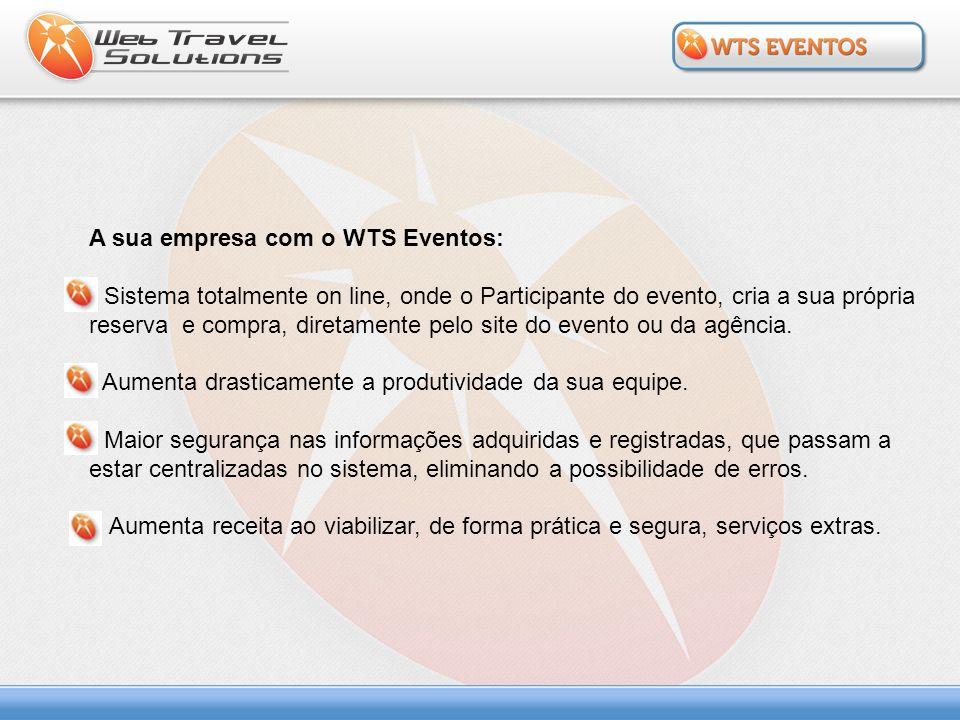 A sua empresa com o WTS Eventos: Sistema totalmente on line, onde o Participante do evento, cria a sua própria reserva e compra, diretamente pelo site
