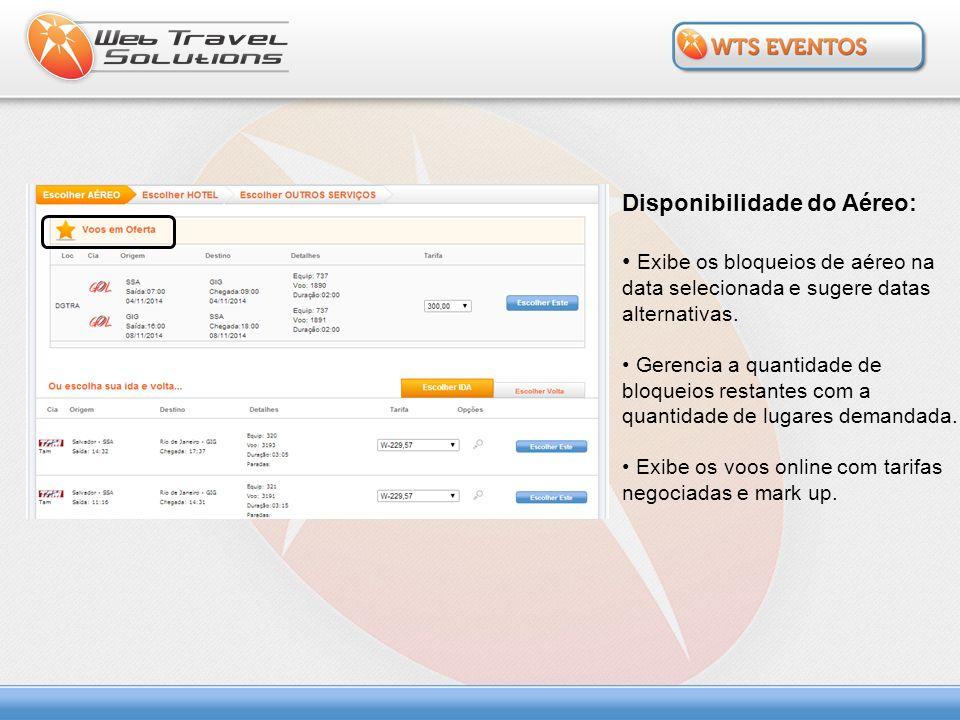 Disponibilidade do Hotel: Busca os hotéis parametrizados para o evento.