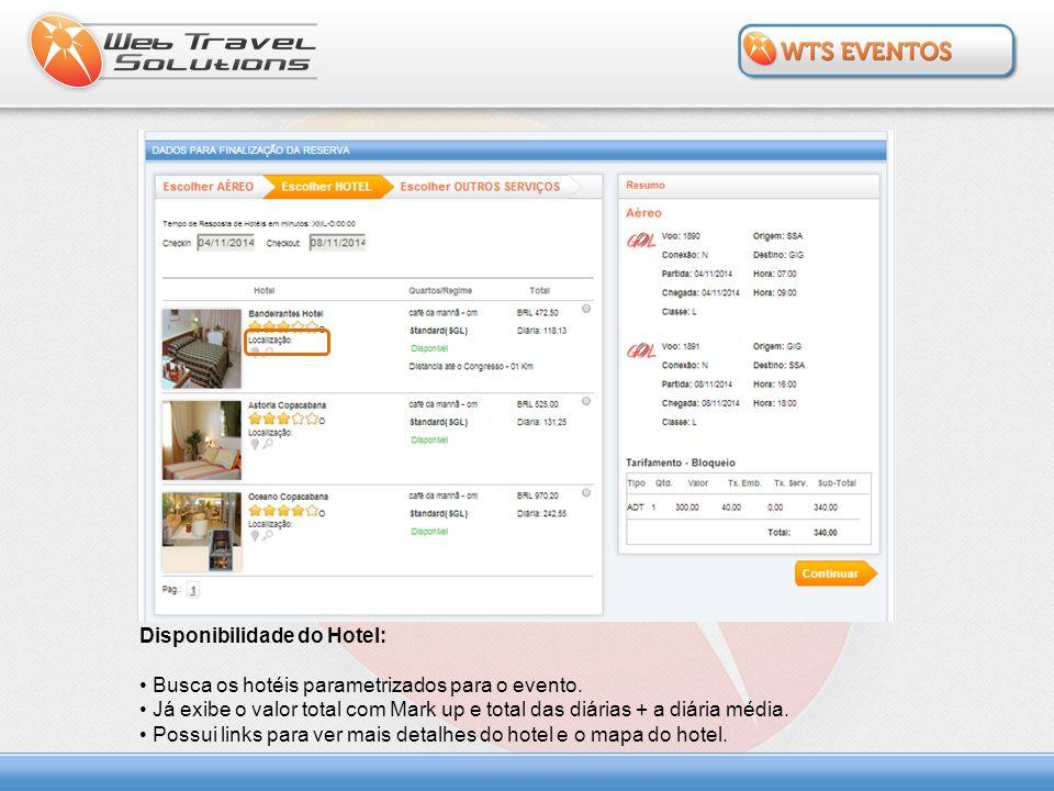 Oferta do Receptivo e Extras: Exibe o resumo da seleção de aéreo e hotel.