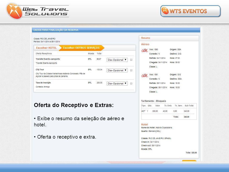 Oferta do Receptivo e Extras: Exibe o resumo da seleção de aéreo e hotel. Oferta o receptivo e extra.