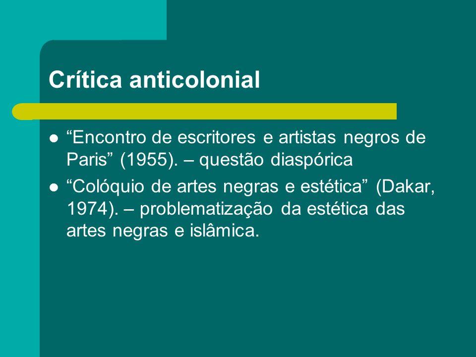Crítica anticolonial Encontro de escritores e artistas negros de Paris (1955). – questão diaspórica Colóquio de artes negras e estética (Dakar, 1974).
