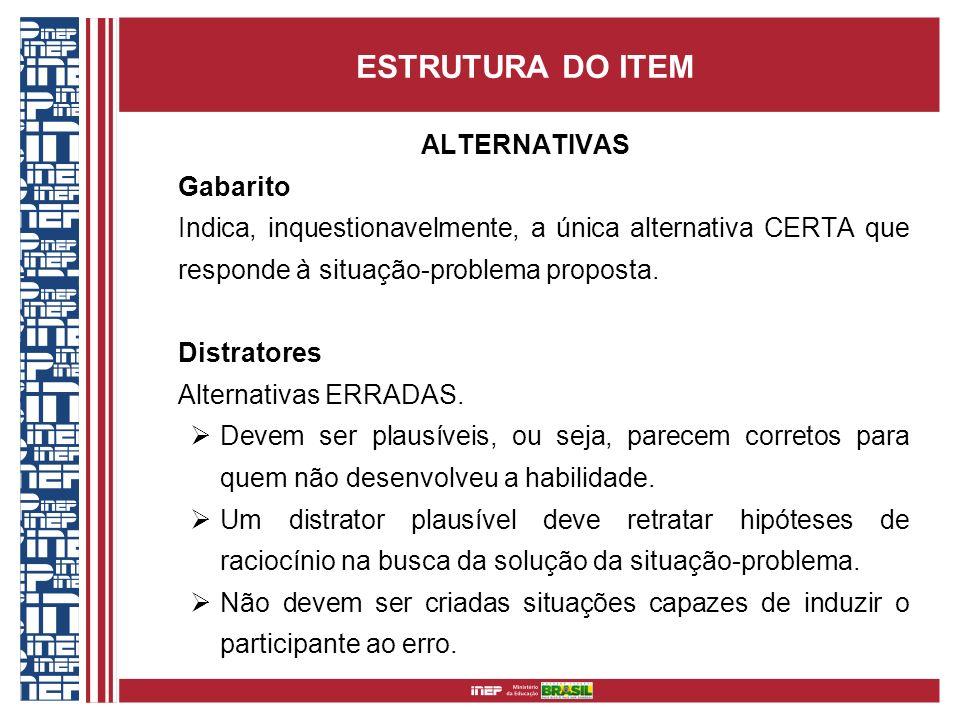 ESTRUTURA DO ITEM ALTERNATIVAS Gabarito Indica, inquestionavelmente, a única alternativa CERTA que responde à situação-problema proposta. Distratores