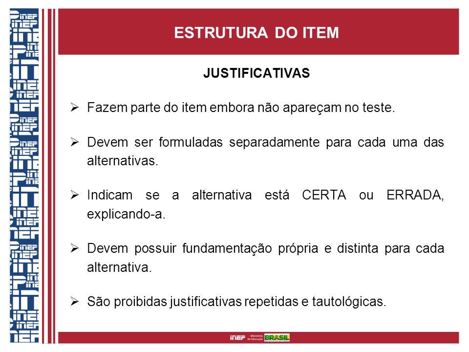 ESTRUTURA DO ITEM JUSTIFICATIVAS Fazem parte do item embora não apareçam no teste. Devem ser formuladas separadamente para cada uma das alternativas.