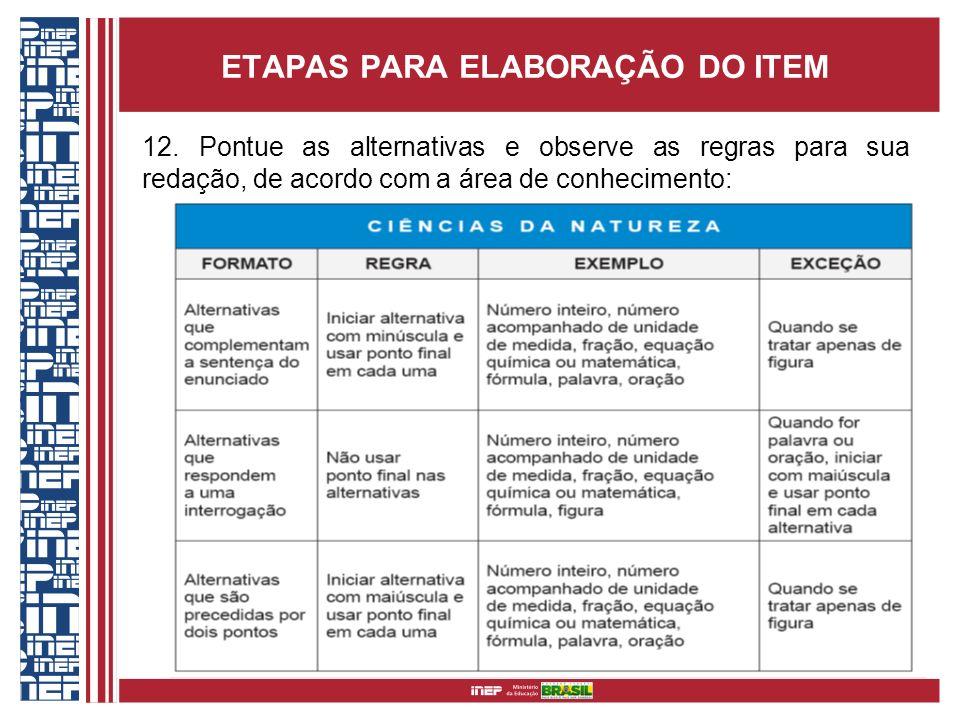 ETAPAS PARA ELABORAÇÃO DO ITEM 12. Pontue as alternativas e observe as regras para sua redação, de acordo com a área de conhecimento: