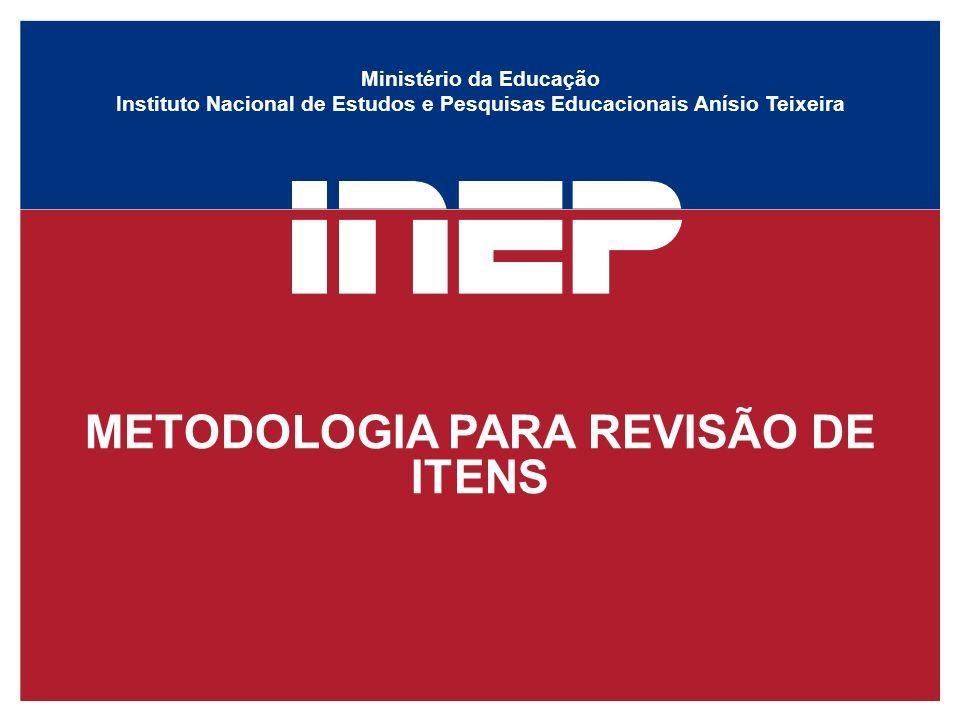 Ministério da Educação Instituto Nacional de Estudos e Pesquisas Educacionais Anísio Teixeira METODOLOGIA PARA REVISÃO DE ITENS