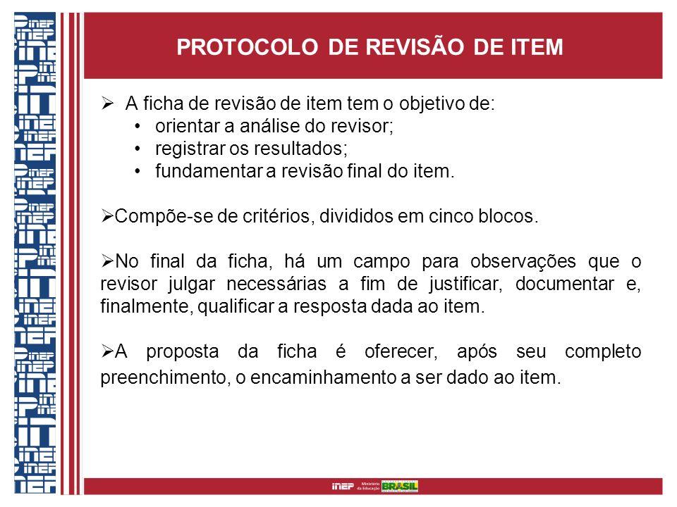PROTOCOLO DE REVISÃO DE ITEM A ficha de revisão de item tem o objetivo de: orientar a análise do revisor; registrar os resultados; fundamentar a revis