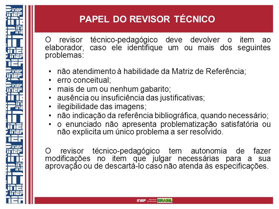 PAPEL DO REVISOR TÉCNICO O revisor técnico-pedagógico deve devolver o item ao elaborador, caso ele identifique um ou mais dos seguintes problemas: não