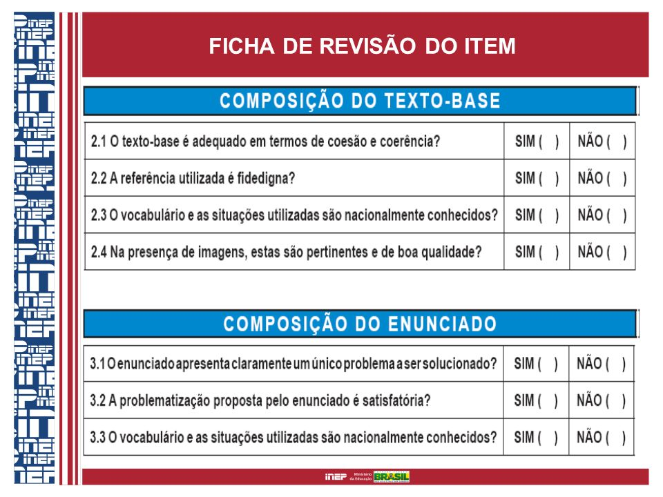 FICHA DE REVISÃO DO ITEM