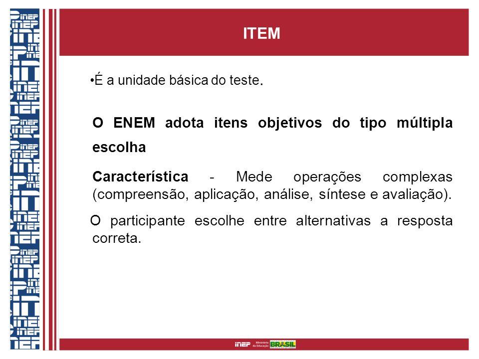 ITEM É a unidade básica do teste. O ENEM adota itens objetivos do tipo múltipla escolha Característica - Mede operações complexas (compreensão, aplica