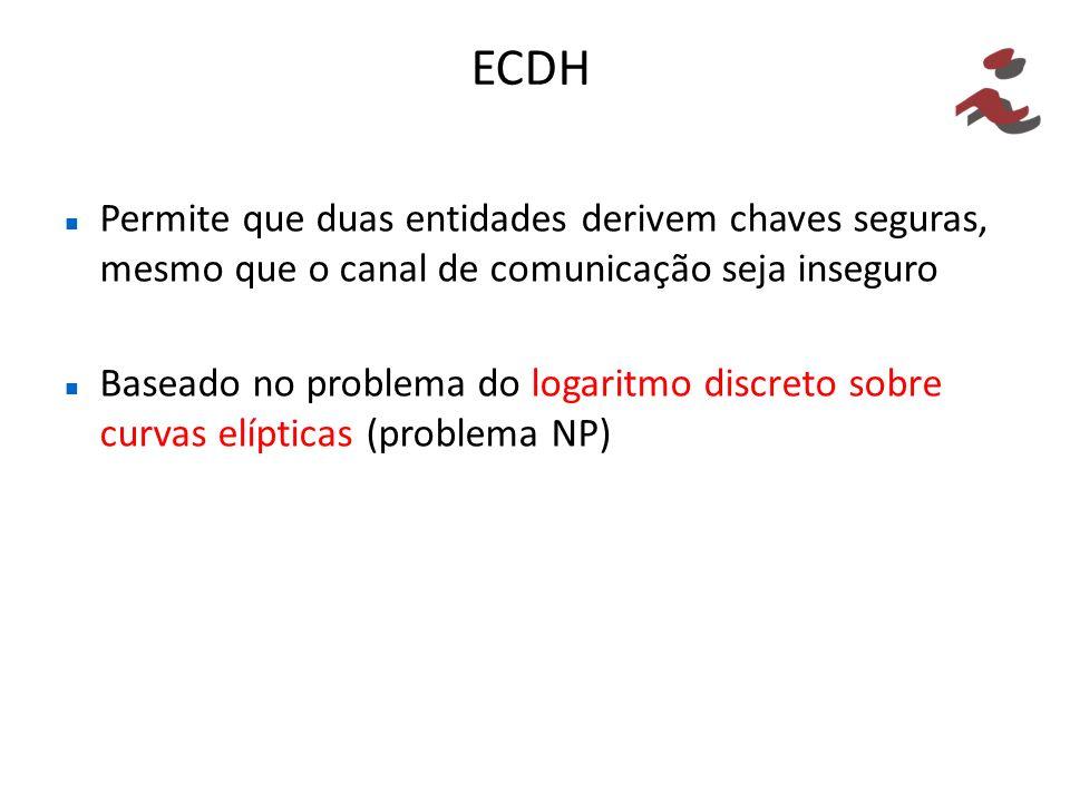 ECDH Permite que duas entidades derivem chaves seguras, mesmo que o canal de comunicação seja inseguro Baseado no problema do logaritmo discreto sobre