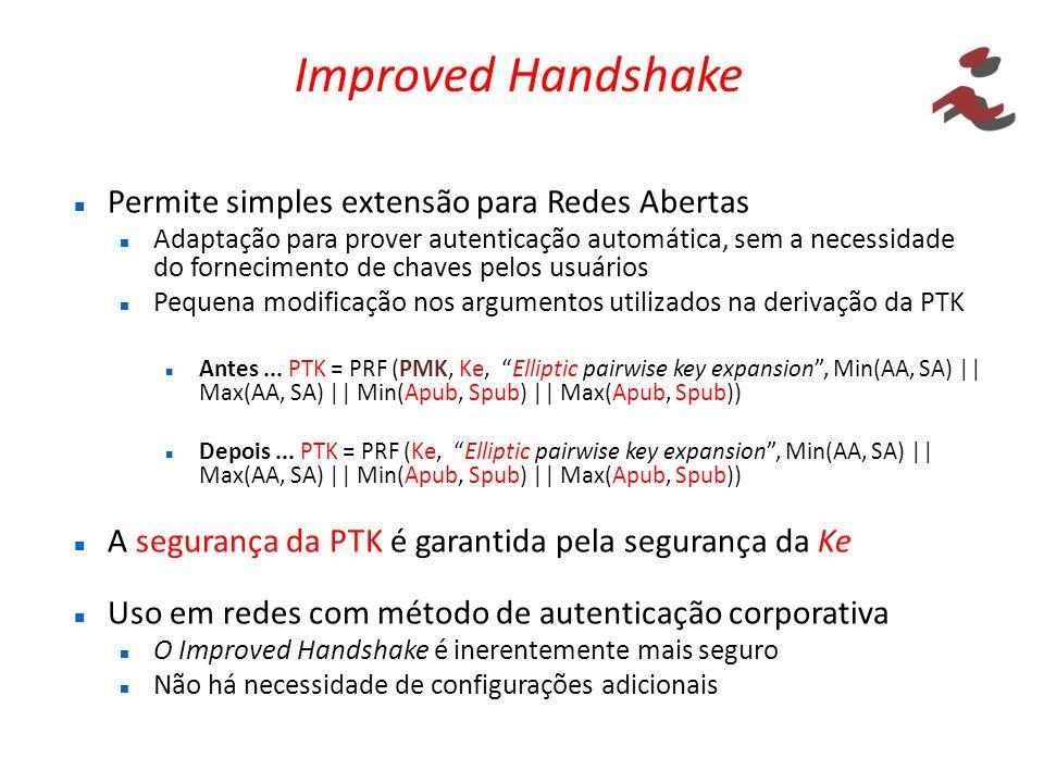 Improved Handshake Permite simples extensão para Redes Abertas Adaptação para prover autenticação automática, sem a necessidade do fornecimento de cha